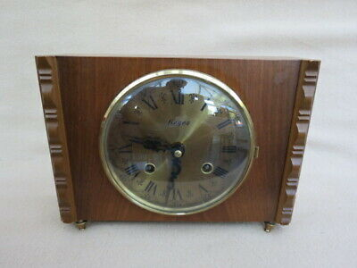 Vintage Fieges Hermle Ting Tang Chime Mantel Clock For Spares Or Repair