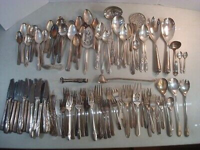 103 PC MIXED LOT SILVERPLATE Some Usable/Scrap ARTS/CRAFTS VARIETY AS IS*