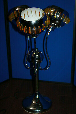Vintage Mid Century Modern Chrome Eyeball Table Lamp Yellow Lucite Spaceage MCM