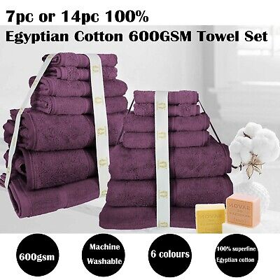 100% Superfine Egyptian Cotton Bath Towels 7-Piece 14-Piece 6 Colors Bathroom