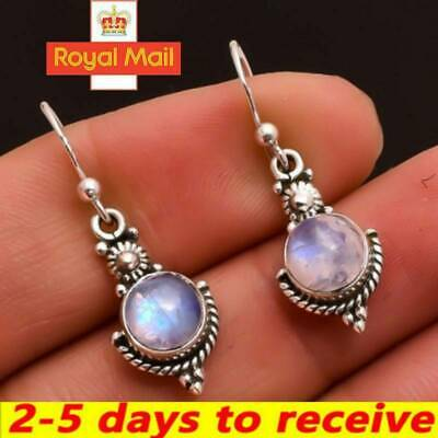 Womens Silver Vintage Boho Drop Hollow Moonlight Stone Drop Dangle Earrings UK