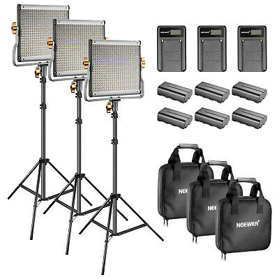Neewer 3 Kit JYLED-500S 480 Lampada video dimmerabile a LED con supporto luce