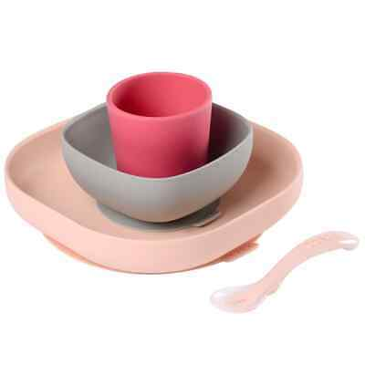 Beaba Silicone Meal Set 4 Pieces Pink and Coral Baby Toddler Dinner Feeding