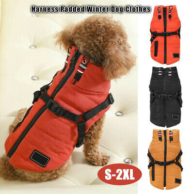 Pet Dog Clothes Waterproof Jacket Padded Winter Warm Coat Collar Vest Harness