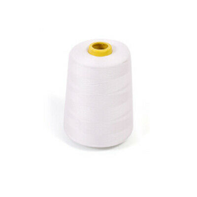 White Sewing Thread 7200 Yards Polyester Spool Overlock Cone for Serger New