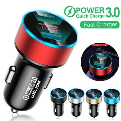 Dual USB Ports Car Charger 3A Fast Charging Adapter LED Cigarette Socket Lighter