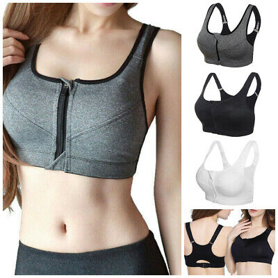 Women Front Zip Sports Bra Push Up High Impact Wireless Padded Cup Tank Vest Top