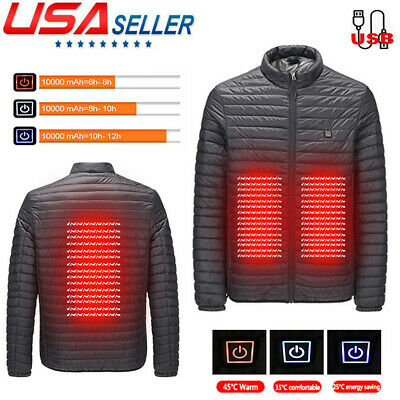 Women Men USB Electric Heated Down Jacket Winter Heating Warm Thermal Coat S-5XL