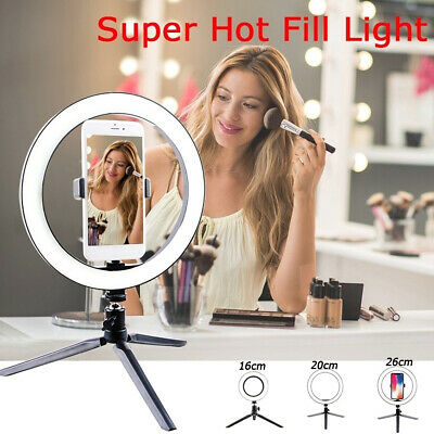 10inch LED Ring Light Lamp Phone Selfie Camera Studio Photo Dimmable TripodStand