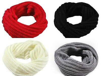 Boys Girls Knitted Circle Infinity Snood Cold Winter Scarf Uk
