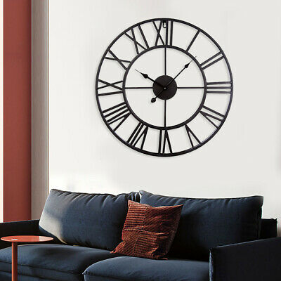 2PCS Round Skeleton Roman Numeral Modern Home Garden Wall Clock Art Decor Metal