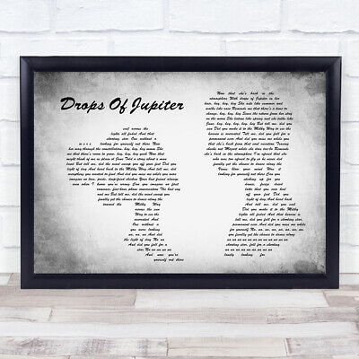 Drops Of Jupiter Grey Heart Song Lyric Quote Print