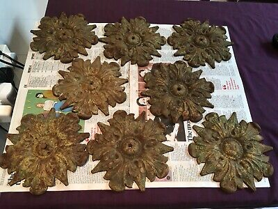 8 Unusual Antique Architectural Distressed Painted Cast Iron Flowers.plaques