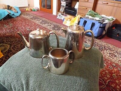 Vintage Hotel Ware Silver Plated Epns Coffee Pot / Teapot And Sugar Bowl
