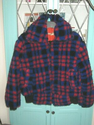 VINTAGE 1970s FLEECE/TEDDY JACKET. BLUE AND RED CHECK. SIZE 6-8 UK  APPROX.