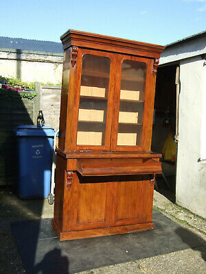 A Victorian mahogany library cupboard bookcase display cabinet