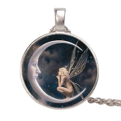 Fairy On The Moon Cabochon Glass Pendant Necklace Fashion Silver Chain Jewelry