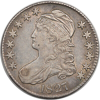 1827 Capped Bust Half Dollar - Square Base - O-107 R-3  High Grade Example!