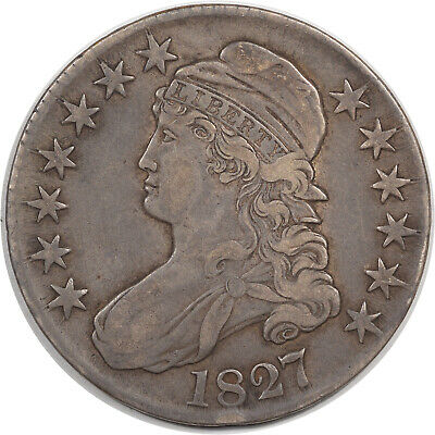 1827 Capped Bust Half Dollar - Square Base - O-139 R-4  High Grade Circ Example!