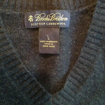 Brooks Brothers Scottish Lambs Wool V Neck In Charcoal Blue Size L