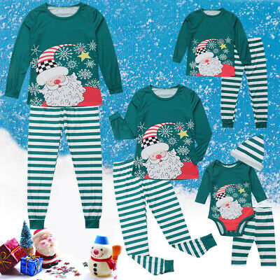 UK Family Matching Women Kids Christmas Pyjamas Xmas Nightwear Pajamas Sets