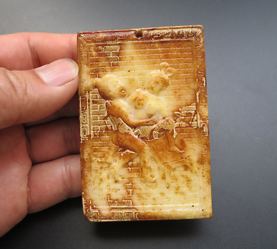 Old Chinese,noble collection,manual sculpture,jade,Man Woman Art,pendant Y269