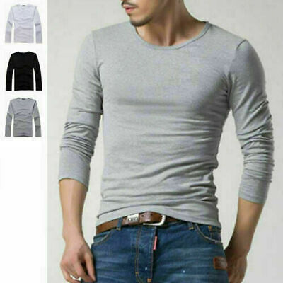 Men's Crew Neck Long Sleeve T-Shirt Slim Fit Solid Color Basic Tee Shirts
