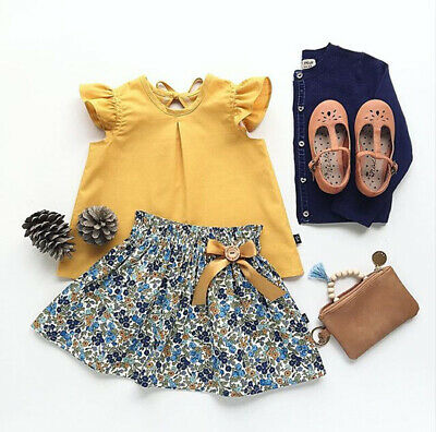 2Pcs Set Girl Tutu Dress Kids Baby Toddler Top + Skirt Tee shirt Outfits Clothes