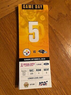 2019 Pittsburgh Steelers vs Baltimore Ravens Ticket Stub 10/6