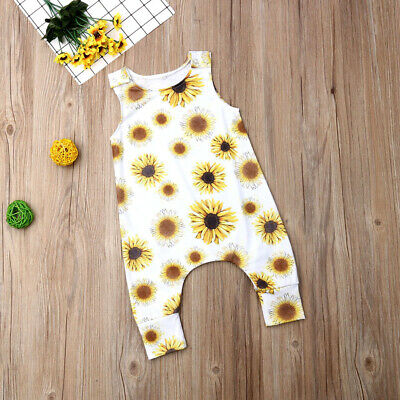 UK Seller Infant Girl Newborn Baby Boy Sunflower Romper Playsuit Clothes Outfit
