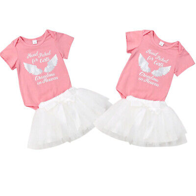 UK Seller Newborn Infant Baby Girls Rompers + tutu Skirt Clothes Outfit Dress