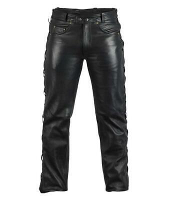Trousers Leather Real with Shoelaces on the Rated (Bikers Gothic Punk)