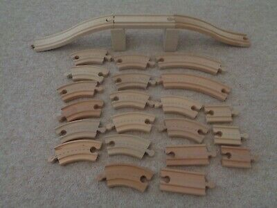 wooden road / train track pieces with bridge