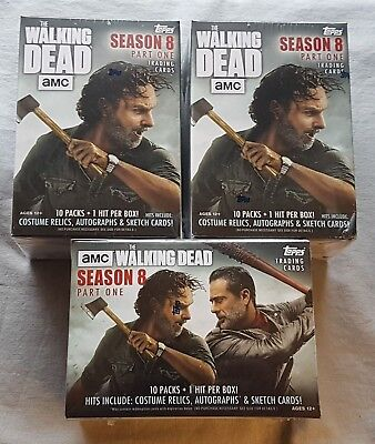 3x Topps The Walking Dead Temporada 8 Trading Cards Blaster Box 2018