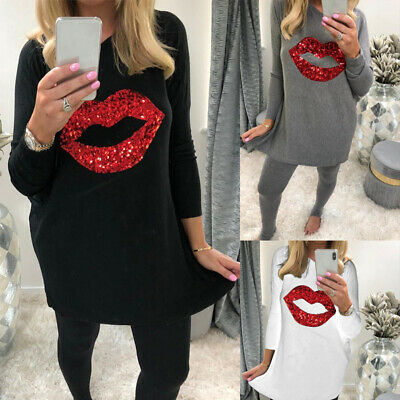 UK Women Sequin Lip Print T-Shirt Top Long Sleeve Loose Casual Oversized Blouse