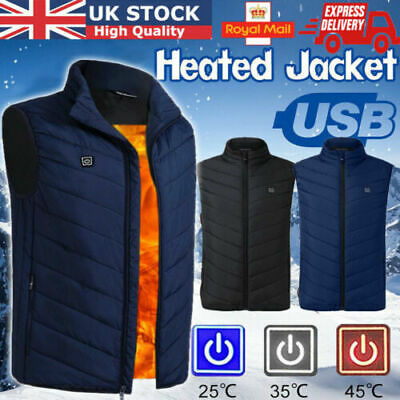 Electric Vest Heated Jacket USB Thermal Warm Heated Pad Winter Body Warmer UK