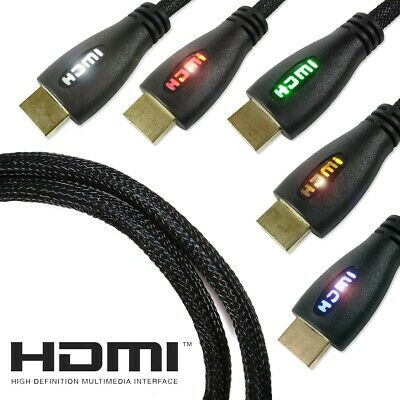 LED HDMI CABLES WITH ETHERNET TV PC Gaming Monitor Computer 4K UHD 1-5 Metres