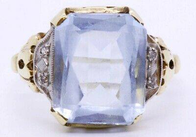 EMR 10k Solid Yellow Gold Light Blue Topaz Cushion Cut Open Work Accent Size:6.5