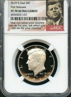 2019 S Clad Kennedy Half Dollar First Releases NGC PF70 Ultra Cameo (Portrait)