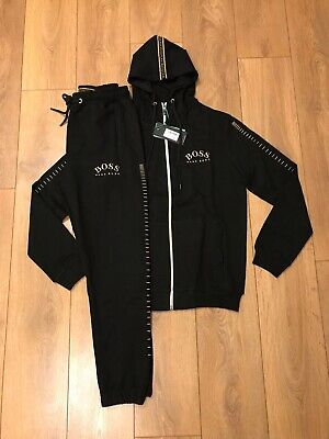Hugo Boss tracksuit black zip hooded top and bottoms reg fit all sizes