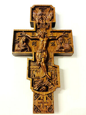 Wooden wall Cross Carved from OAK wood  Rare  Orthodox cnc