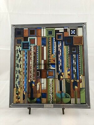 Ebros Frank Lloyd Wright Metal Framed Saguaro Cactus Flowers Stained Glass Art