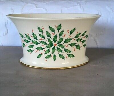 """Lenox Dimension Collection """"Holiday Oval Serving Bowl-Cachepot"""" w/24K Trim NWT"""