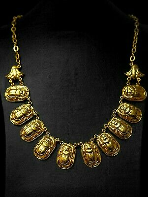 EGYPTIAN NECKLACE SCARAB GOLD Plated JEWELERY EGYPT Handmaid OLD COPPER