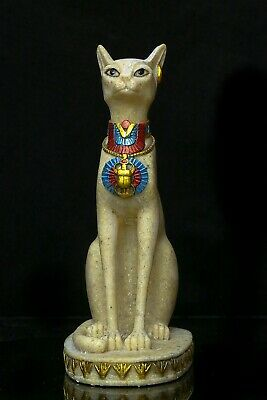 Ancient Egypt Egyptian Antique Gods Bastet Cat Ubasti Pharaoh Carved Stone