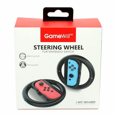 Gamewill Switch Steering Wheel Black Racing Nintendo Joy-Con Controller 2 Pack