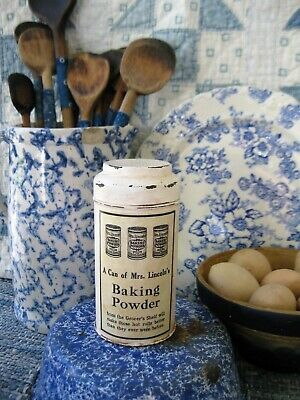 Early Antique Pantry Tin Mrs. Lincoln's Baking Powder Free Shipping
