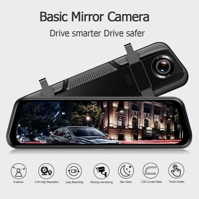 "10"" Touch Screen Car DVR Dual Lens FHD 1080P Rear View Mirror Video Dash Camera"