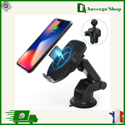 Support Chargeur QI Rapide Sans Fil Telephone Mobile Induction Fixation Voiture
