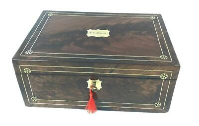 A Victorian Brass Inlaid Mahogany Writing Slop With Secret Draw & Ink Bottles